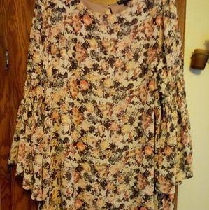 Bobeau sz 2x Soft Floral Print Boho Dress